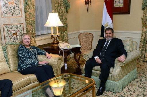 Secretary Clinton and President Morsi. State Department photo, via Flickr.