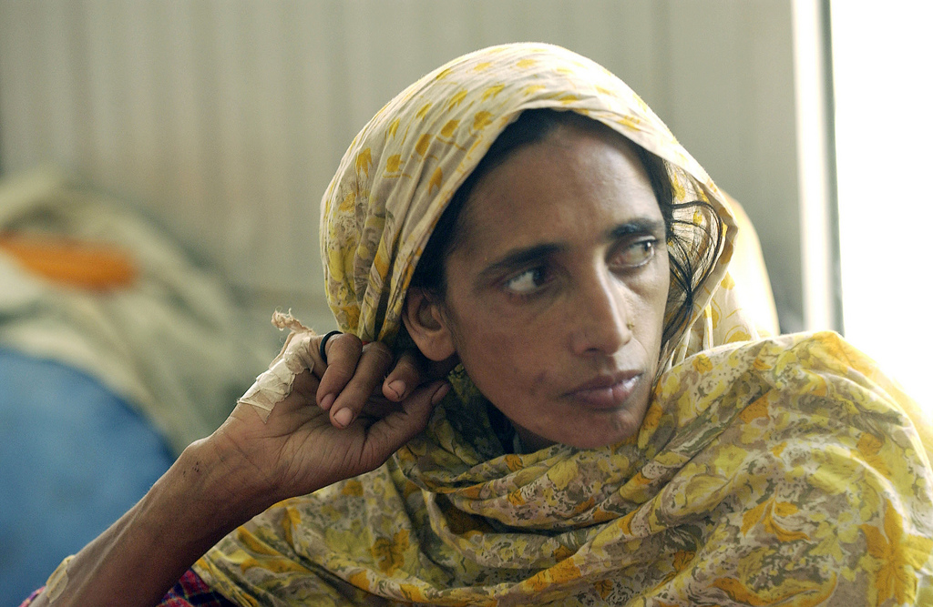 2005 portrait of a woman in Muzaffarabad, Pakistan. UN photo by Evan Schneider.