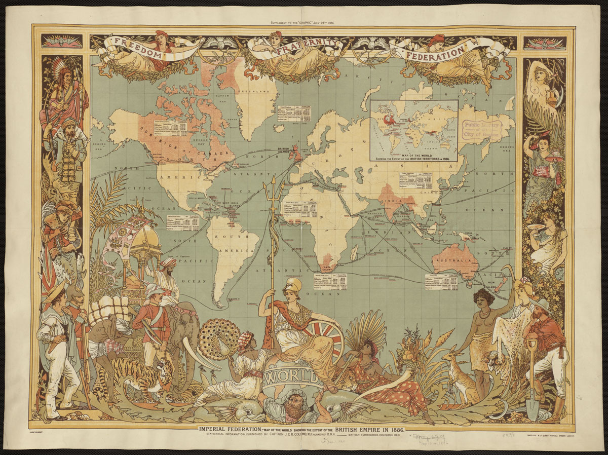 Map of the British Empire, 1886. By Colomb, J. C. R., via Norman B. Leventhal Map Center.