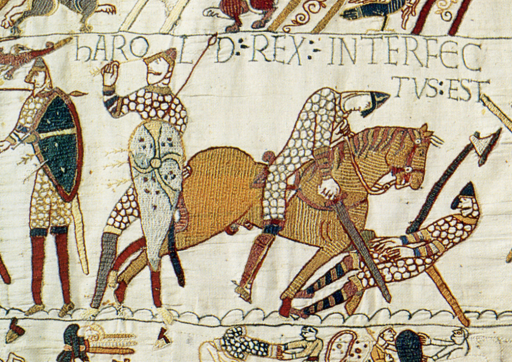 The death of Harold, from the Bayeux Tapestry. Via Wikimedia.