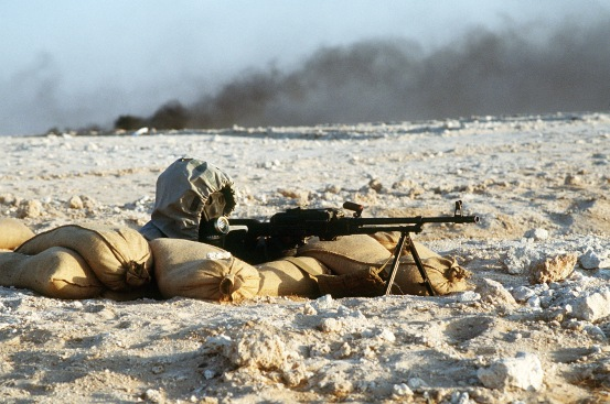 Syrian soldier during Operation Desert Shield. Photo by Tech. Sgt. H. H. Deffner, via Wikimedia.