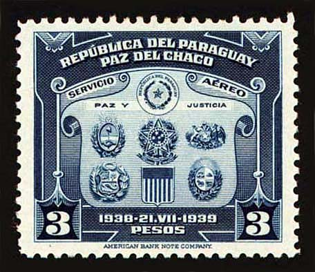 Paraguayan postage stamp commemorating the end of the Chaco War. Via Wikimedia.
