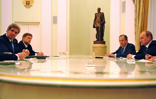 Secretary of State John Kerry meets with Russian President Vladimir Putin in 2013. US State Department photo.