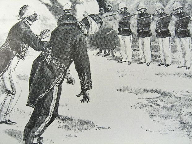 Revue l'Illustration, Execution of Madagascar officials by the French, 1896. Via Wikimedia.