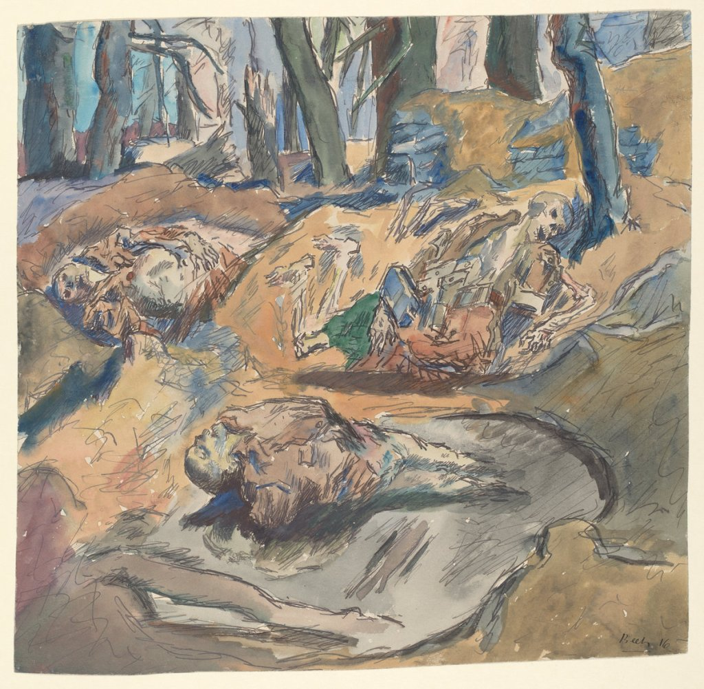 "René Beeh, ""Dead Scottish Soldiers on the Battlefield near Ypres,"" 1916. Via the National Gallery of Art."