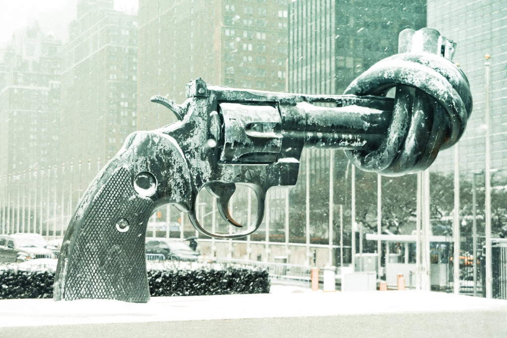"The sculpture ""Non-violence"" in front of the United Nations building in New York. Courtesy of Luke Redmond."