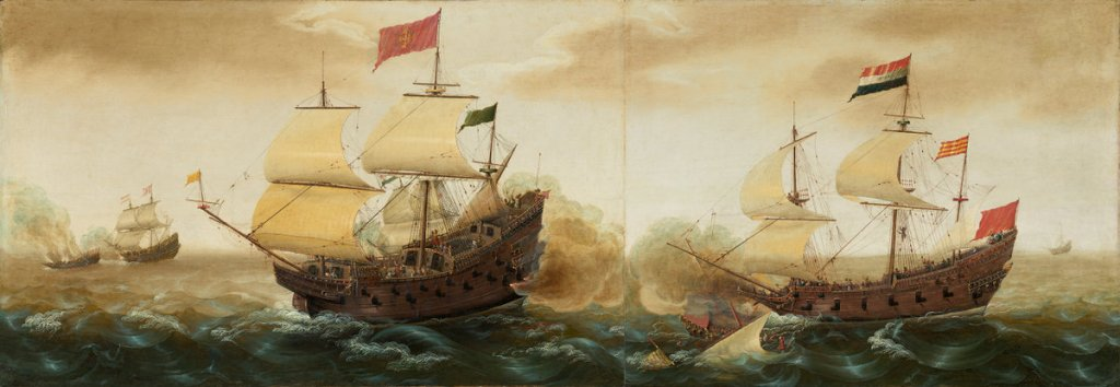 "Cornelis Verbeeck, ""A Naval Encounter between Dutch and Spanish Warships,"" 1620. Via the National Gallery of Art."