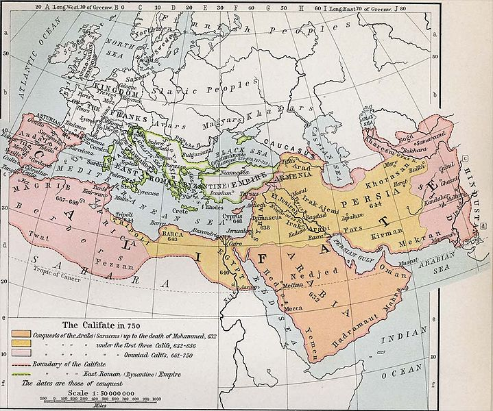 A 1911 map of the original Caliphate by American cartographer William Robert Shepherd. Via wikimedia.