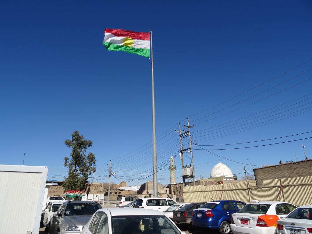 Kurdistan's flag flies over Erbil, Iraq.