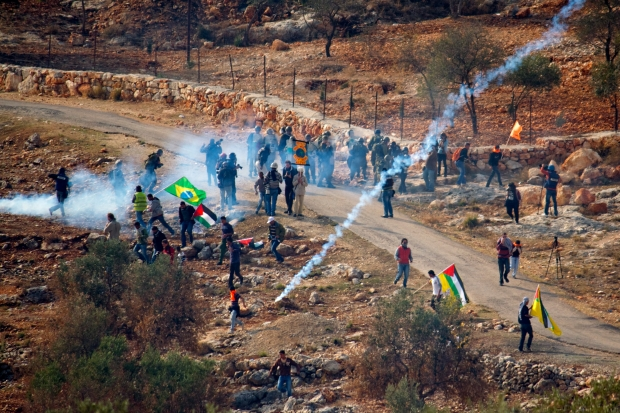 A demonstration in the West Bank village of Bil'in. By flickr user mar is sea Y.