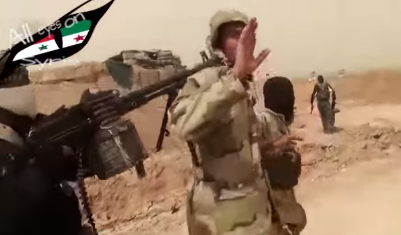 ISIS capture an Iraqi soldier. Screenshot from Syria4YouandMe's video.