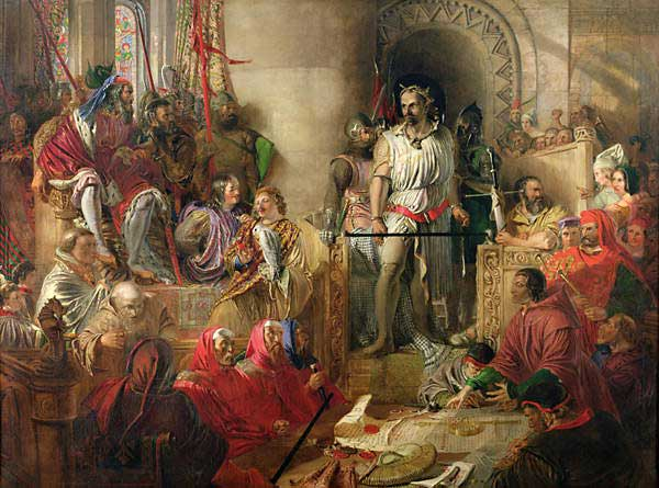 "Daniel Maclise, ""The Trial of William Wallace at Westminster,"" pre-1870. Via wikimedia."