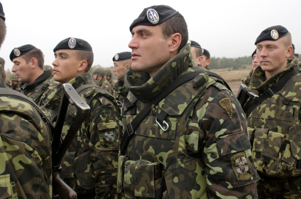 Ukrainian troops stand in formation during a training exercise in Poland. Via the US Army Europe.