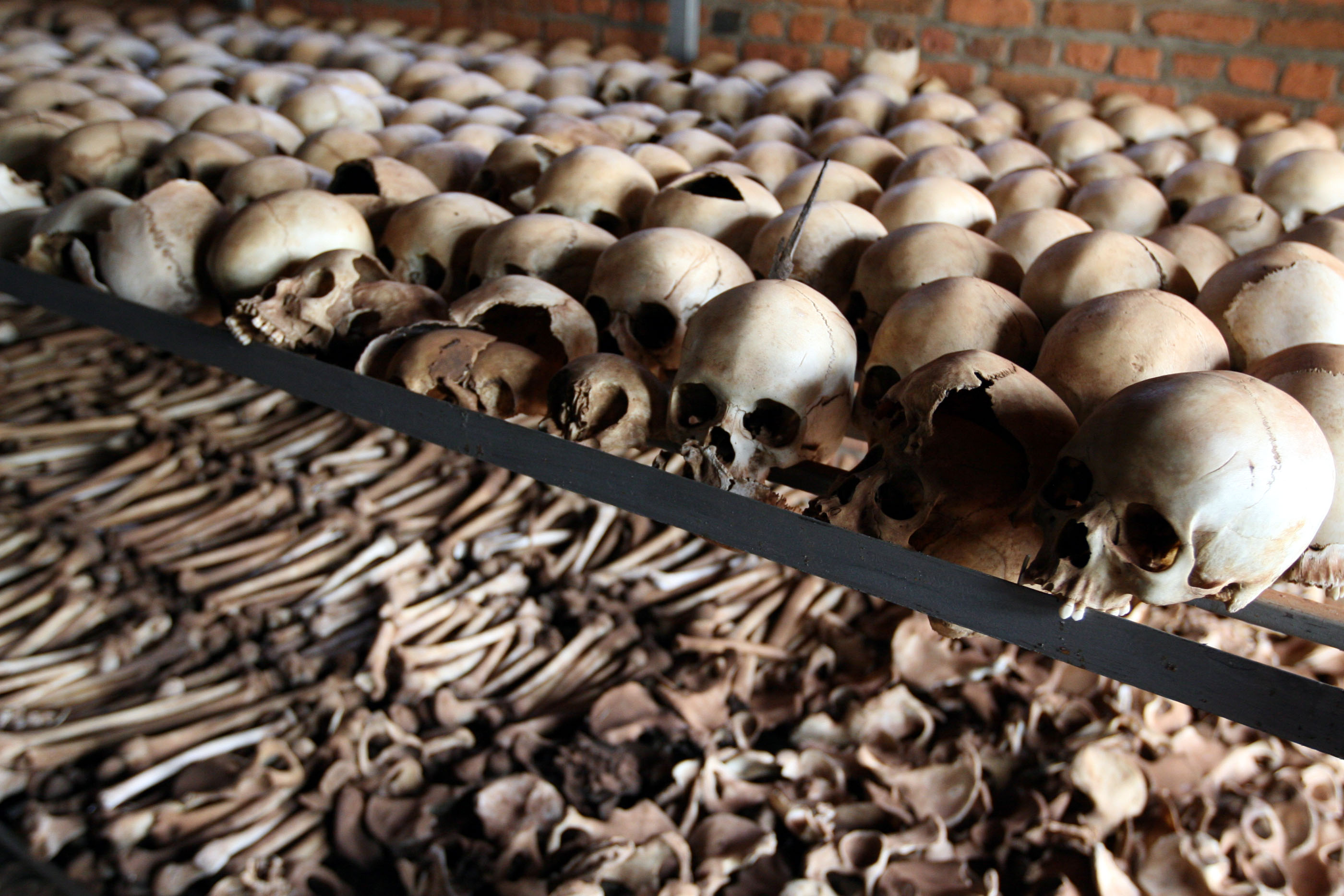 Bones of victims at a memorial to the Rwandan genocide. By DFID.