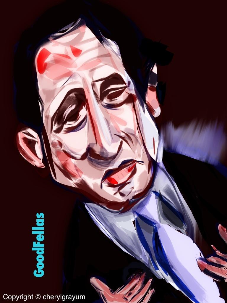 A caricature of Robert DeNiro's character from Goodfellas. By Cheryl Grayum.