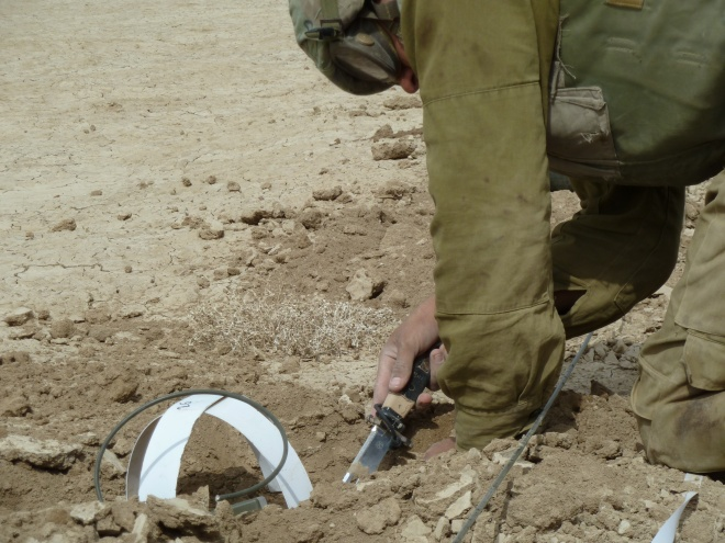 An Israeli Combat Engineer works to clear mines along the Jordanian border. Via the Israel Defense Forces.