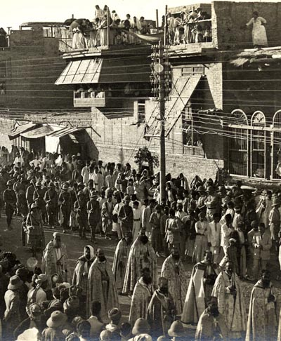 Assyrians and Armenians attend the celebration of Corpus Christi in Baghdad, 1920. Via wikimedia.