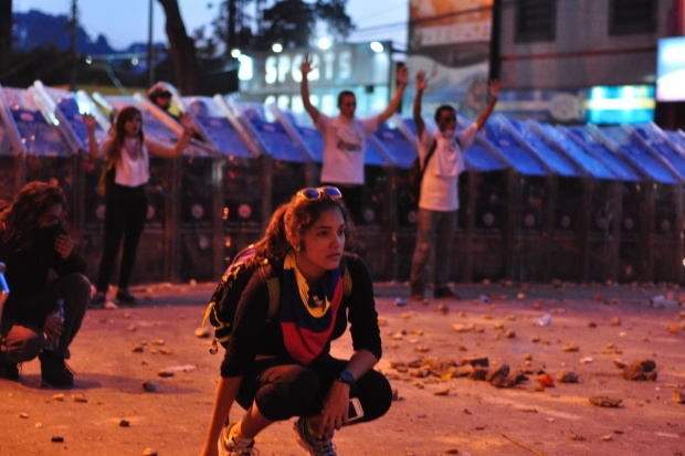Protesters in Caracas, Venezuela. From flickr account andreasAzp.