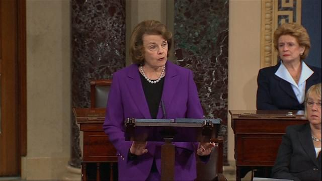 Senator Diane Feinstein speaks in front of the Senate Intelligence Committee. By Adam Kamran.