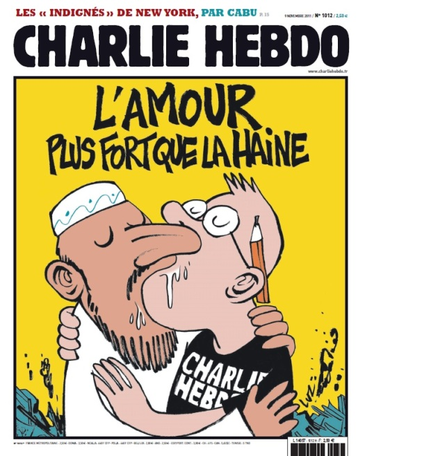A cover image for Charlie Hebdo from November 2011. Via Kanichat.