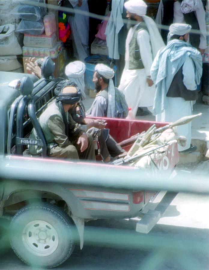 Taliban fighters in Herat in 2001. Via wikimedia.