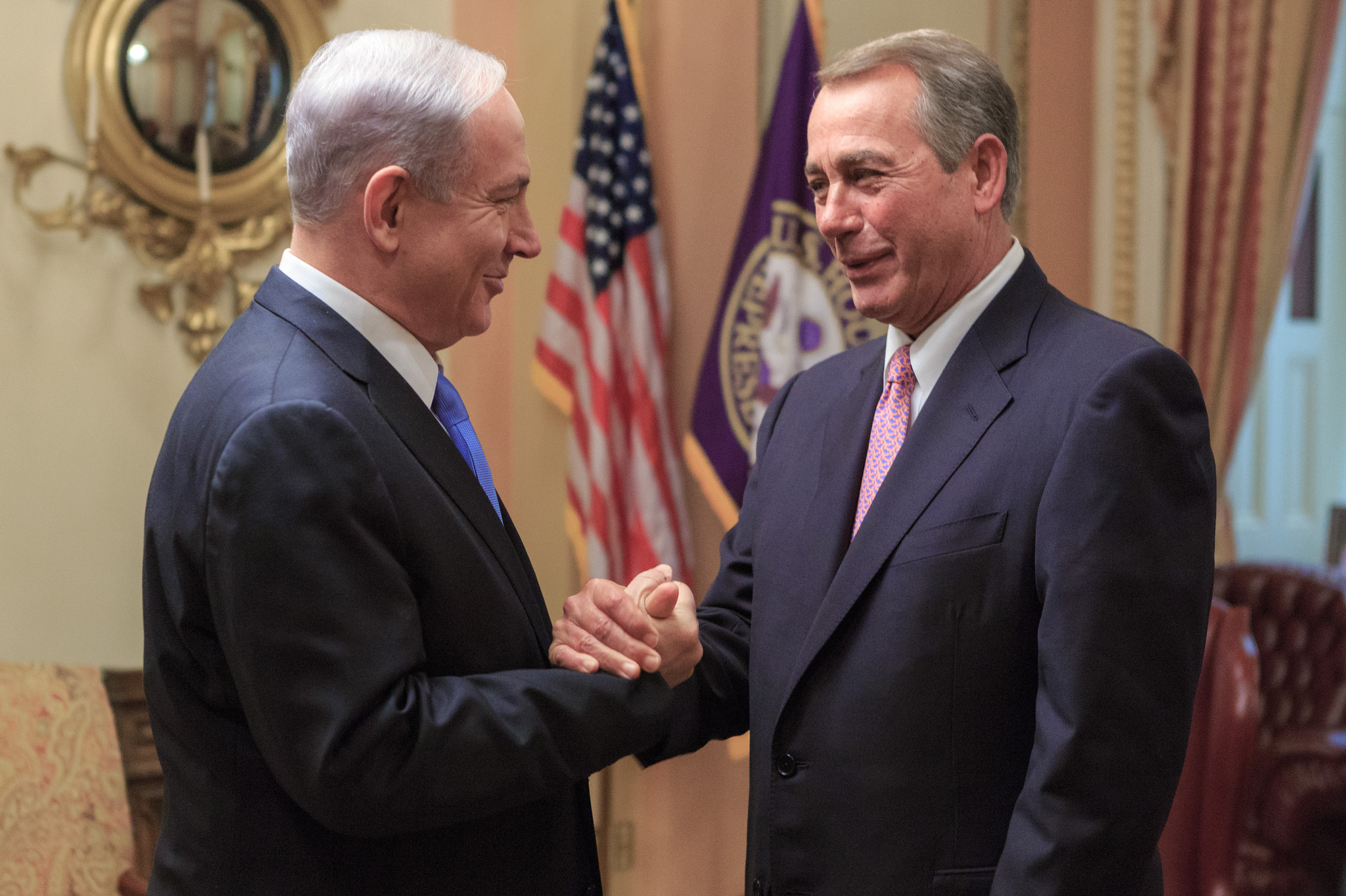 Israeli Prime Minister Benjamin Netanyahu embraces Speaker of the House John Boehner. By Speaker John Boehner.