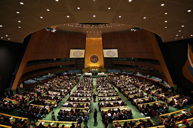 United Nations General Assembly Hall in the UN Headquarters, New York, NY. April 23, 2011.  By Basil D. Soufi.