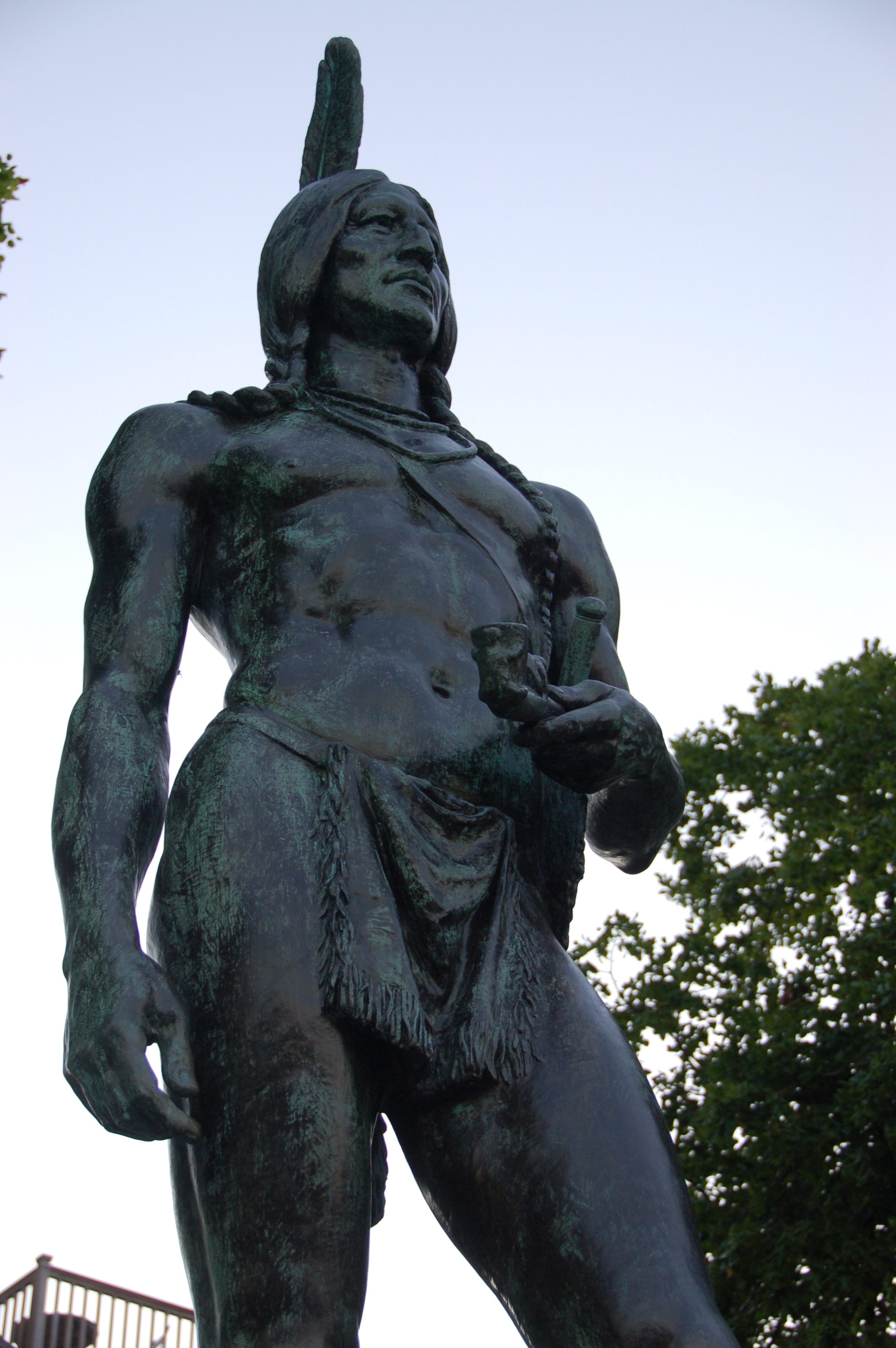 A statue of Massasoit, the leader of the Wampanoag Confederacy in the early-mid 17th Century. By Chris Devers.