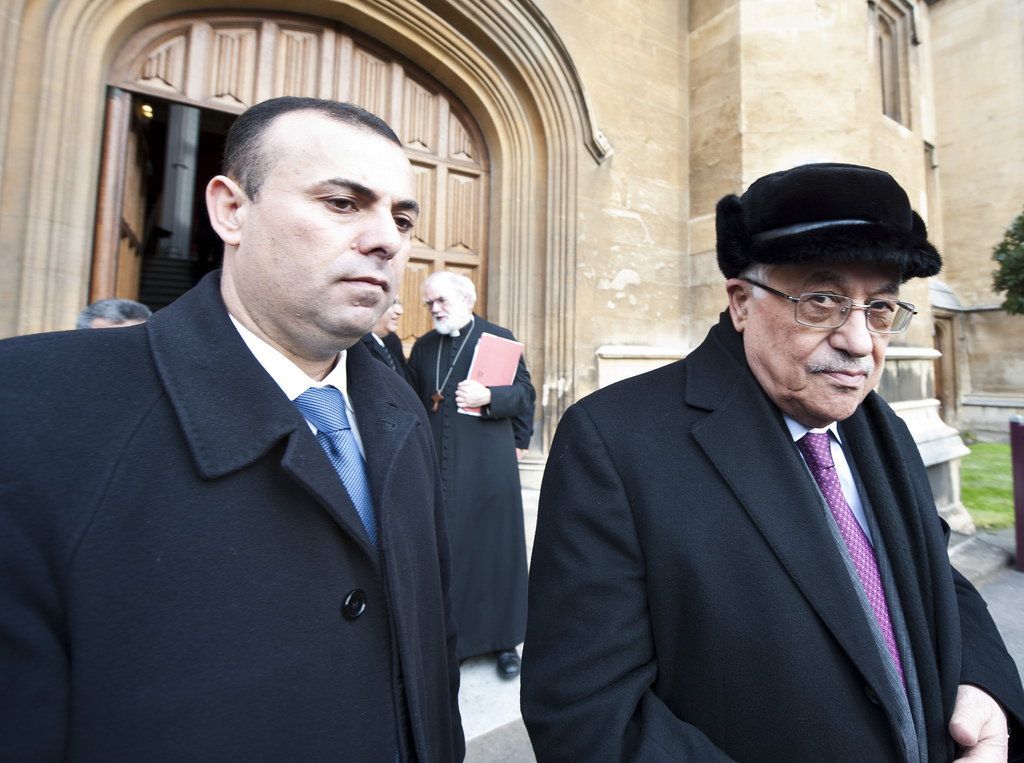 Palestinian Authority President Mahmoud Abbas, right, on a visit to England. Via the Catholic Church of England and Wales.
