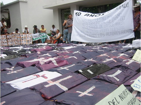 Die-in Protest in Apartadó, Colombia, 2007. By Oliver Kaplan.