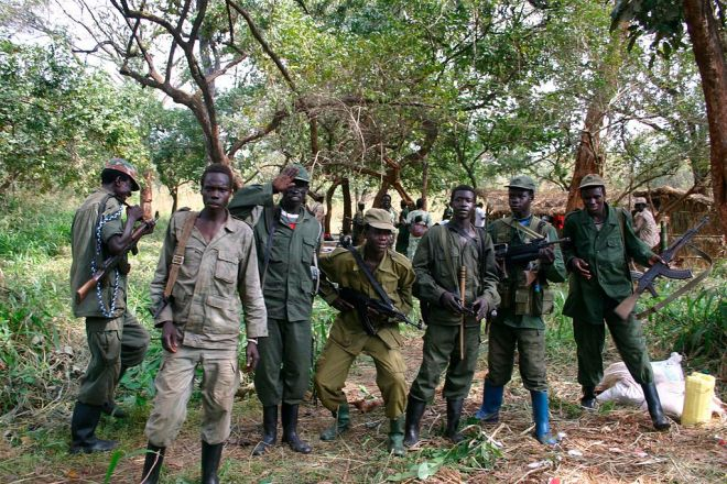 LRA soldiers pose for a picture. Via wikimedia.