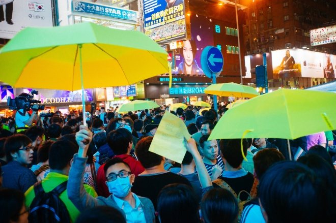 Protesters take part in the Umbrella Revolution. By Leung Ching Yau Alex.
