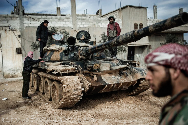 A Free Syrian Army tank crew in February 2012. By Freedom House.