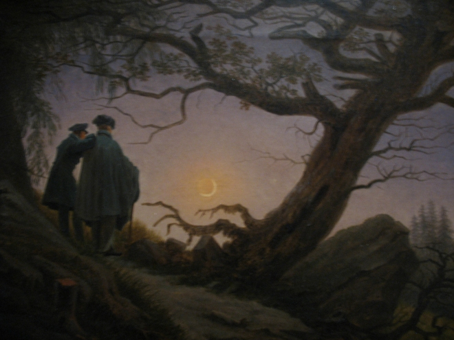 """Caspar David Friedrich, """"Two Men Contemplating the Moon,"""" 1825-30. Via Peter Eimon."""