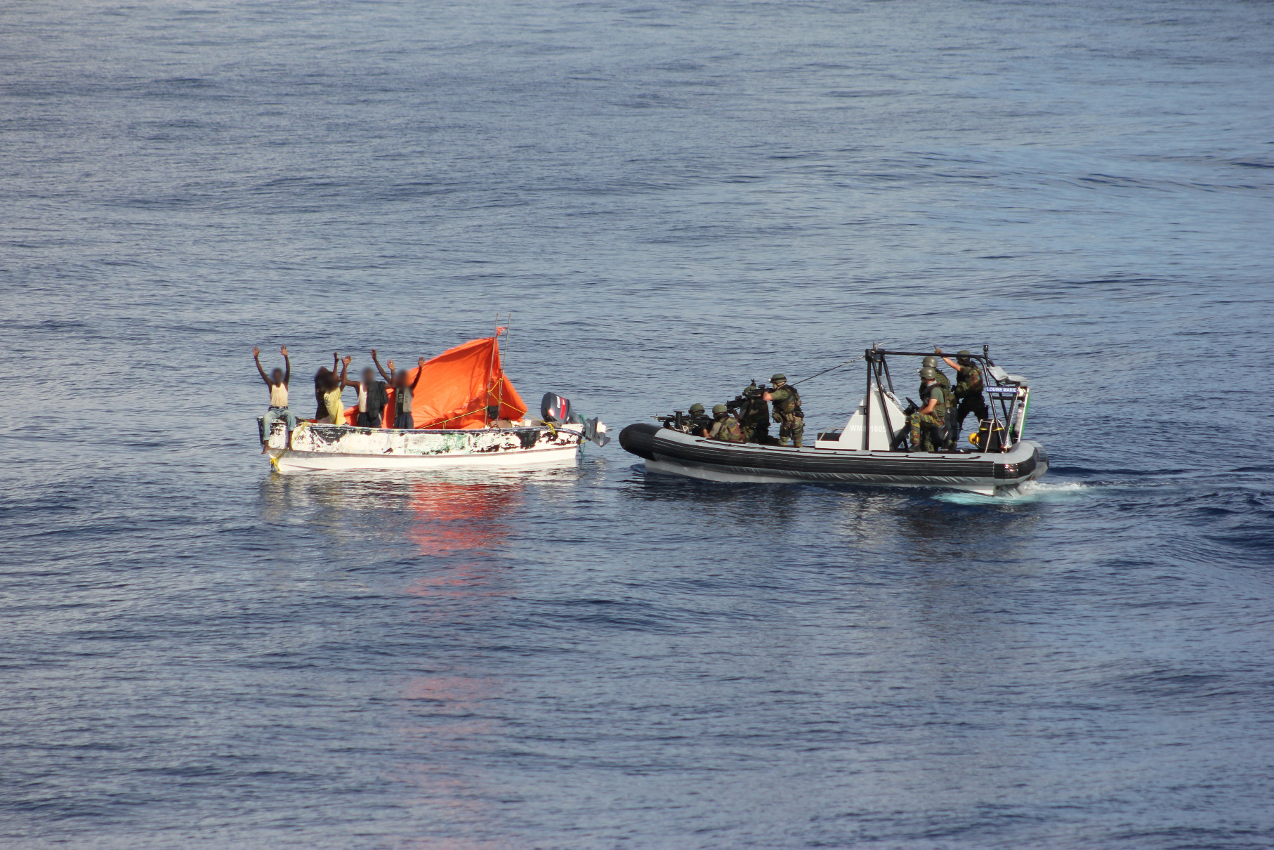 EU Naval Force intercept a skiff with suspected pirates on board, December 15 2012. By EUNAVFOR.