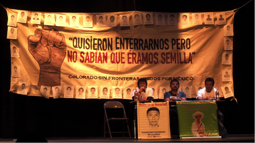 Family members of missing Ayotzinapa students speak in Denver on April 12th. By Cassy Dorff.