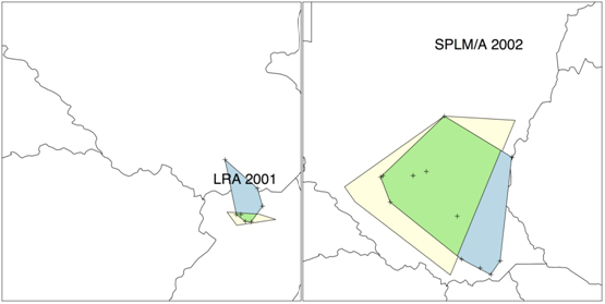 Figure: GED polygons for the LRA in 2001 and the SPML/A in 2002. Current-year polygons are in blue, previous-year polygons are in yellow, and the areas of overlap are in green.