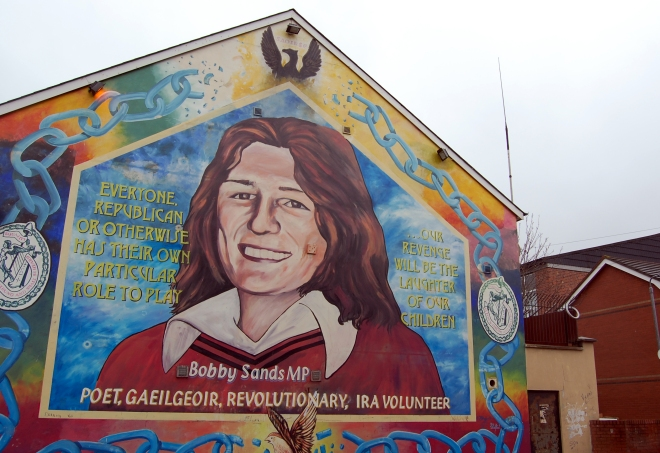 A mural commemorating republican hunger striker Bobby Sands, who died in British prison, in Belfast. By Dave Sandford.