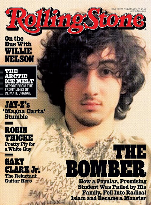 Dzhokhar Tsarnaev on the cover of Rolling Stone. Via wikimedia.