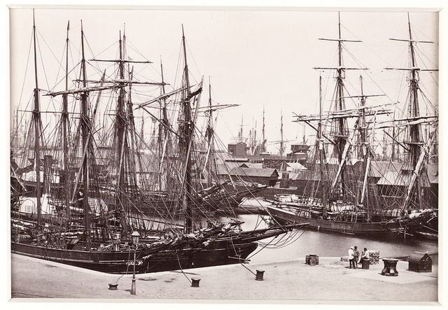 """The Bute Docs, with Shipping,"" circa 1880. By Francis Bedford."