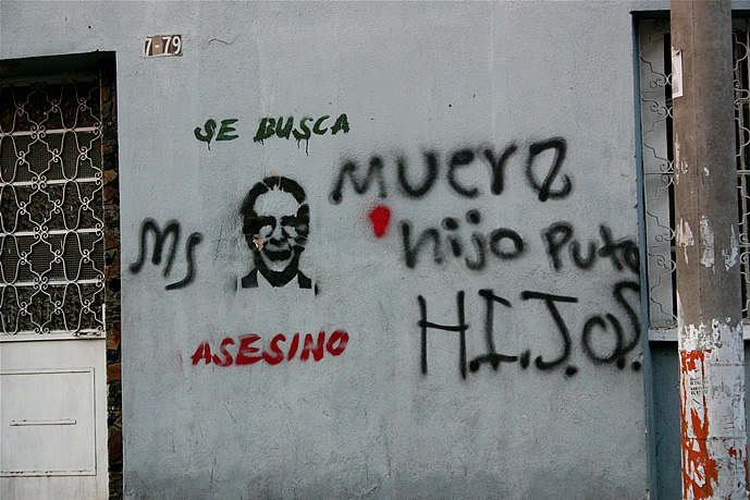 "Graffiti in Gautemala City labels former President Efrain Rios Montt an ""assassin"". By Surizar."