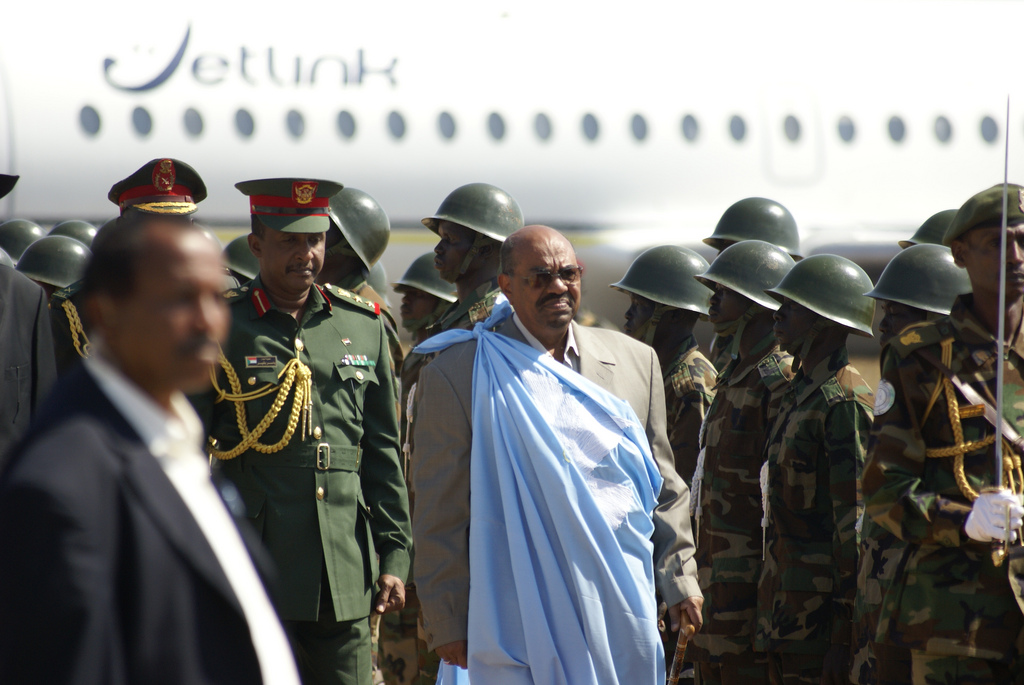 Omar al-Bashir on a visit to Juba, South Sudan in 2014. By Al Jazeera English.