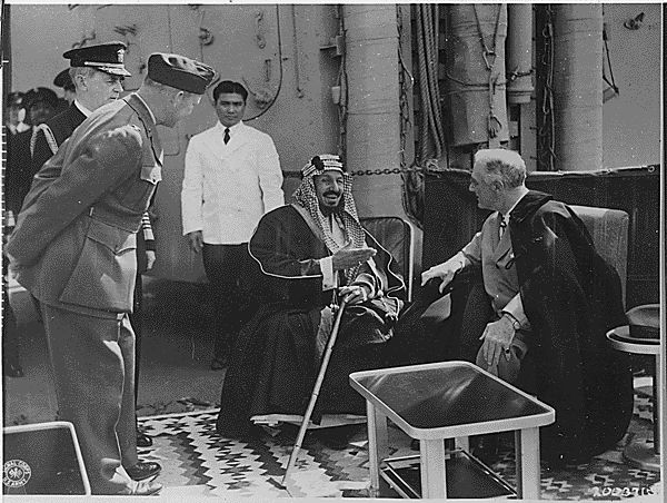 King Abdulaziz, also known as Ibn Saud, receives President Roosevelt. VIa Crethi Prethi.