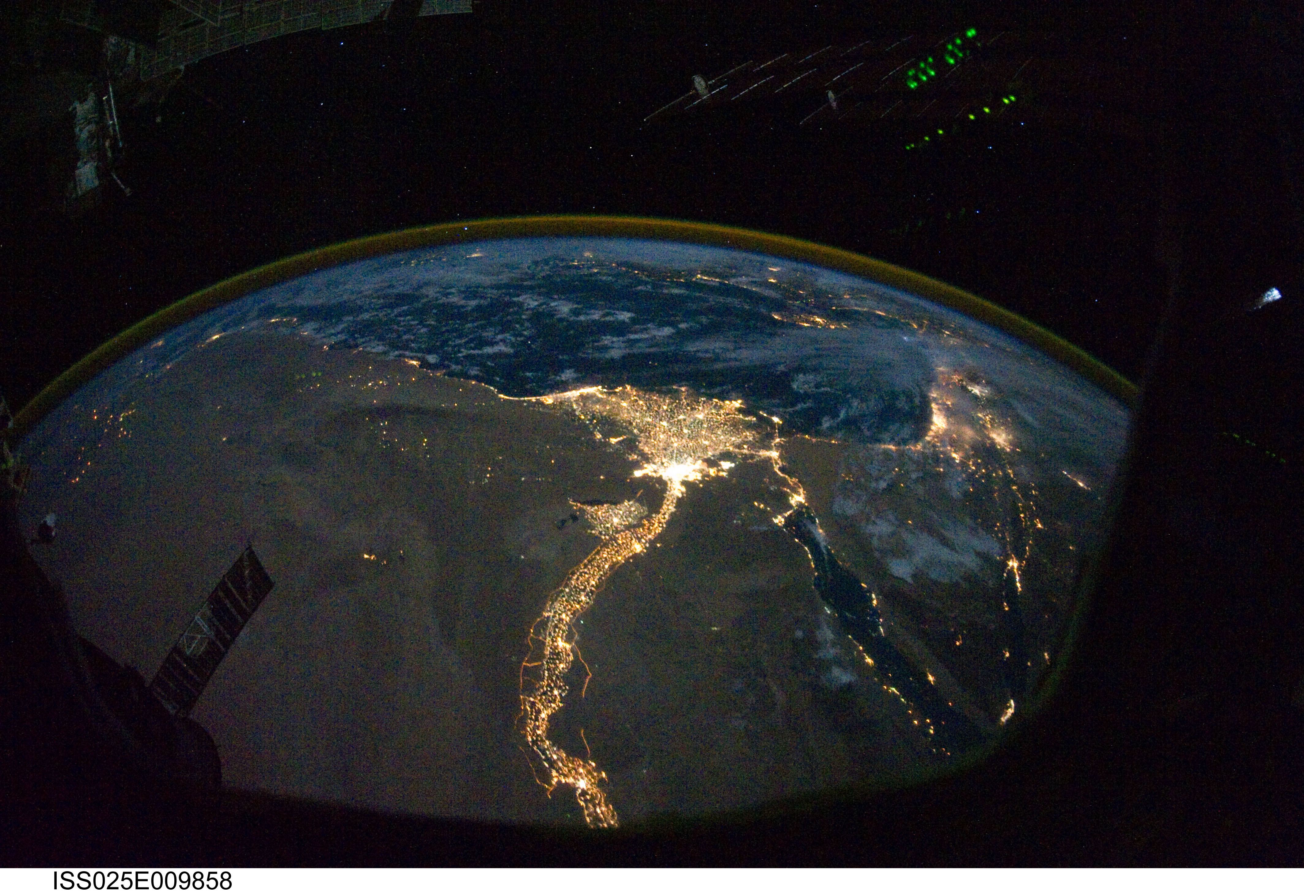 Nighttime Egypt seen from the International Space Station. By NASA's Marshall Space Flight Center.