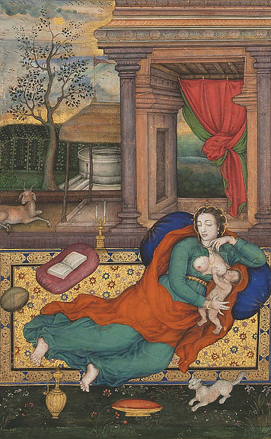 "Manohar or Basawan, ""Mother and Child With a White Cat,"" 1598. Via The Metropolitan Museum of Art."