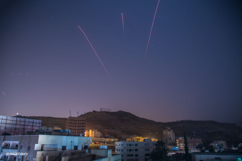 Anti-aircraft fire over Sanaa, Yemen. By Ala'a Assamawy.