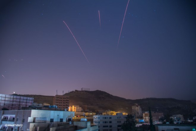 Anti-aircraft fire over Sanaa, Yemen. By Ala'a Assamawy.