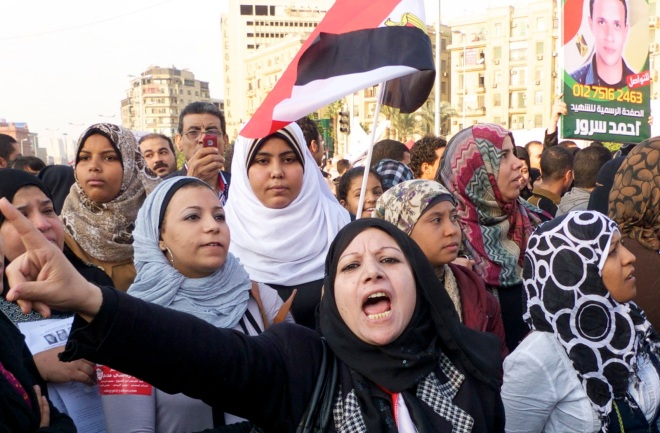 Women protest against Egypt's Supreme Council of Armed Forces in Tahrir Square in 2011. By Iokha.
