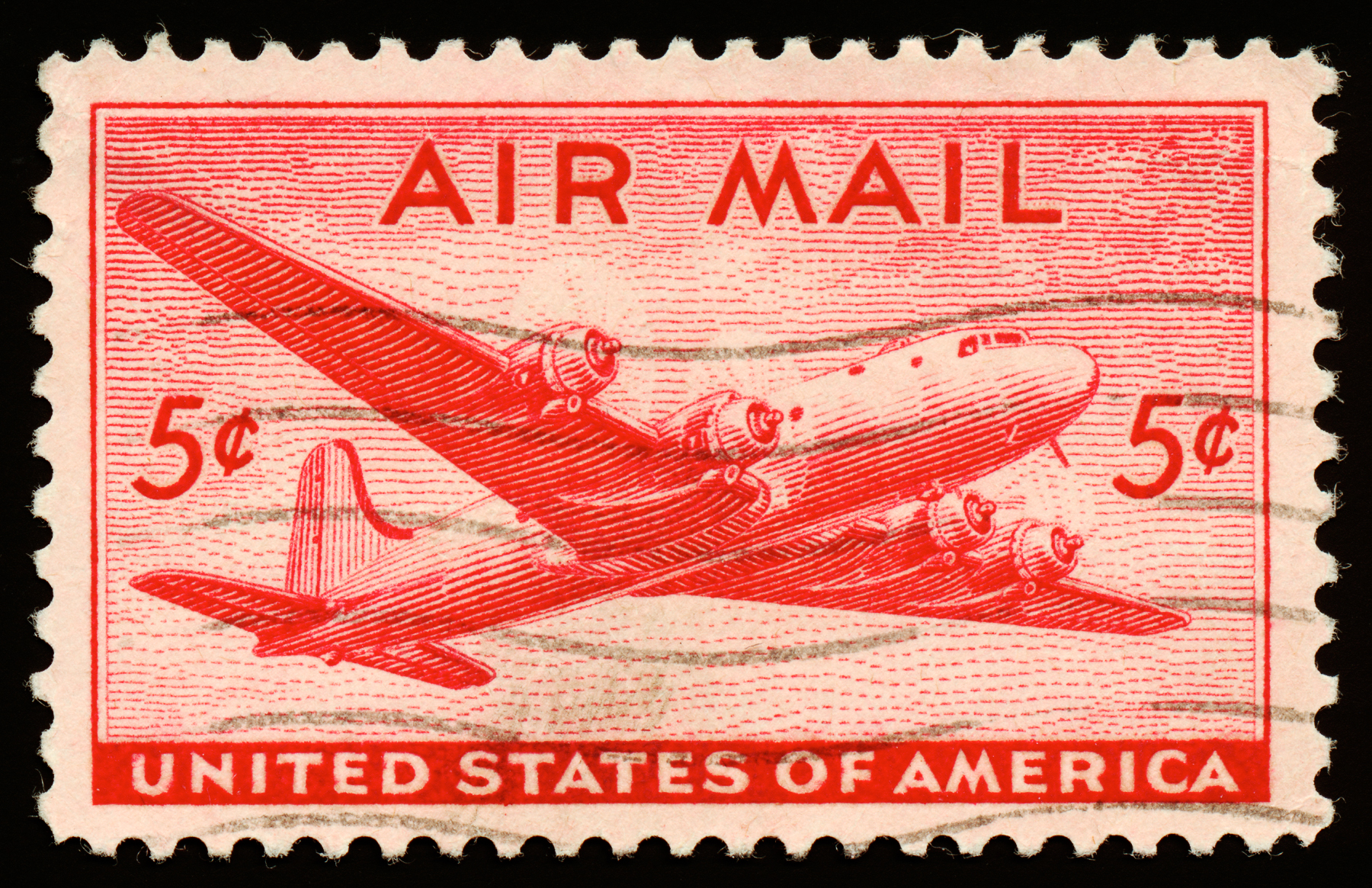 Red DC4 Skymaster Air Mail Stamp, circa 1946. By Nicolas Raymond.