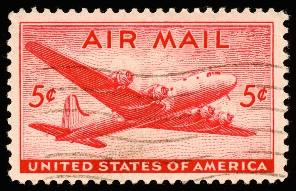 Red DC4 Skymaster Air Mail Stamp, circa 1946. By Nicolas Raymond.